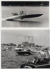 LOT DE TROIS PHOTOGRAPHIES  Racing boats