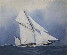Léon HAFFNER (1881-1972), peintre officiel de la Marine  Voilier en mer