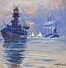Albert SEBILLE (1874-1953), peintre officiel de la Marine  Le bateau Phare