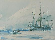 MARIN-MARIE (1901-1987), peintre officiel de la Marine  Le Pourquoi Pas, Groenland, 1926