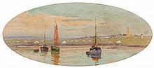 Hendrik HULK (Hollandais 1842-1937)  Bateaux au bord d'un canal en hollande
