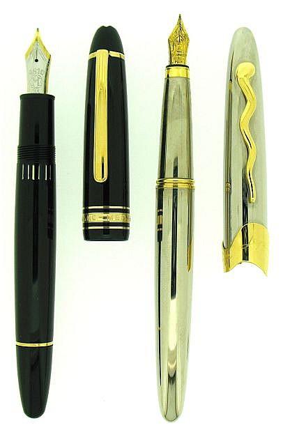 DIVERS Lot de 2 stylos : un plume Montblanc 146 Meisterstück résine noire attributs plaqués or plume 18 carats oblique moyenne + u.....