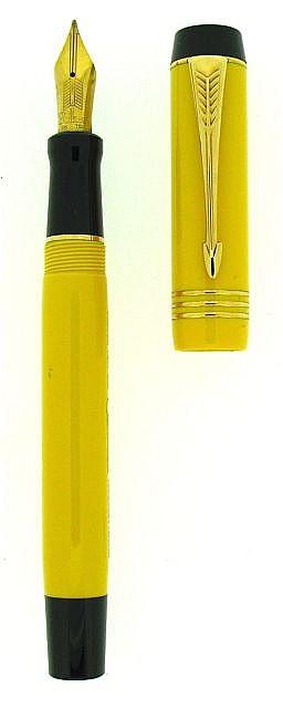PARKER Mandarin, stylo plume Duofold Centennial en acrylique jaune de 1995, réédition du célèbre modèle