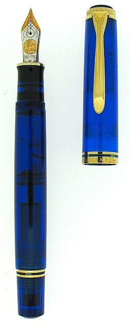 PELIKAN Blue Ocean, série limitée numérotée à 5000 exemplaires des années 90 en résine transparente bleue et attributs plaqués or,.....