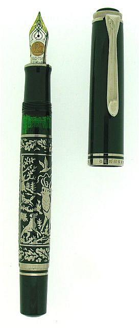 PELIKAN Hunting, stylo plume série limitée à 3000 exemplaires, résine verte, attributs rhodiés, gaine en argent et laque verte ave.....