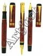 PARKER Parure plume +bille + roller Duofold Centenial, résine rouge marbré, attributs plaqués or, plume or 18 carats moyenne. Sans.....