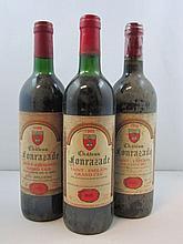 9 bouteilles 3 bts : CHÂTEAU FONRAZADE 1988 GC Saint Emilion (base goulot, étiquettes sales)