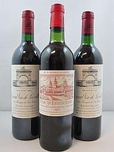 3 bouteilles 1 bt : CHÂTEAU COS D'ESTOURNEL 1975 2è GC Saint Estèphe (légèrement bas, étiquette fanée)