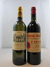 2 bouteilles 1 bt : CHÂTEAU FIGEAC 1980 1er GCC (B) Saint Emilion (base goulot, étiquette tachée)