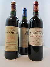 12 bouteilles 4 bts : CHÂTEAU MAUCAILLOU 1995 CB Moulis (étiquettes léger abimées)