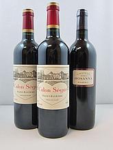 3 bouteilles  2 bts : CHÂTEAU CALON SEGUR 2006 3è GC Saint Estèphe 1 bt : CHÂTEAU HOSANNA 2001 Pomerol