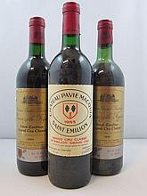 11 bouteilles 3 bts : CHÂTEAU PAVIE MACQUIN 1985 GCC Saint Emilion (2 haute épaule et 1 base goulot)