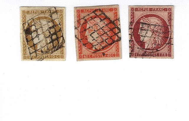 France - Cérès nd - N° 1, 10 c. bistre, n° 5, 40 c. orange et n° 6, 1 f. carmin. Oblitérés grille. TB.