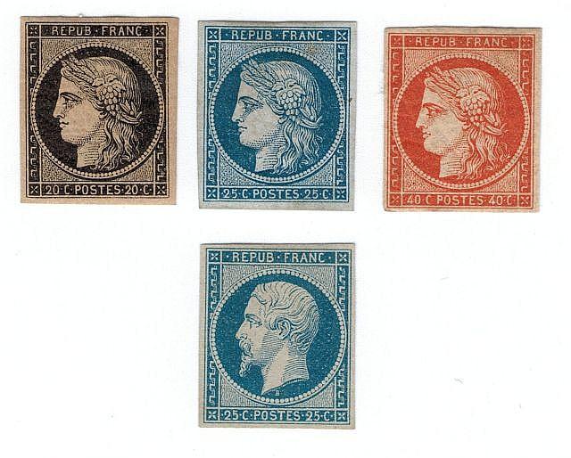 France - N° 3, 20 c. noir, n° 4, 25 c. bleu, n° 5, 40 c. orange et n°10, 25 c. bleu. Neufs. B. et TB.