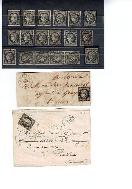 France -Cérès nd - N° 3, 20 c. noir, 8 ex. dont un sur fragment, deux paires et une bande de quatre, oblitérés. Joint, un 20 c. noir...