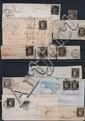 France - N° 3, 20 c. noir. Ensemble de lettres ou fragments de lettres. Oblitérations diverses dont janvier 1849.