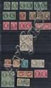 France - Napoléon dentelés - Ensemble de timbres de l'émission laurée, n° 25 à 32 dont paires et plusieurs bandes. Oblitérations et...