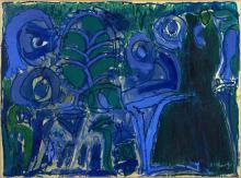 Pierre ALECHINSKY (Né en 1927) A LA TRACE - 1974 Acylique sur papier marouflé sur toile