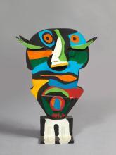 Karel APPEL (1921 - 2006) VIERGE NOIRE - 1975 Bois peint
