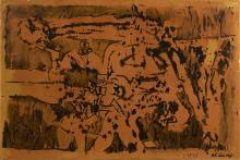 Pierre ALECHINSKY (Né en 1927) MISE AU POINT - 1958 Encre sur papier collé sur calicot