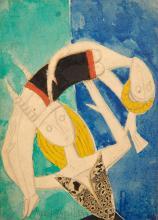 Marie VASSILIEFF 1884 - 1957 BAIGNEUSES Aquarelle, crayon et collage sur papier