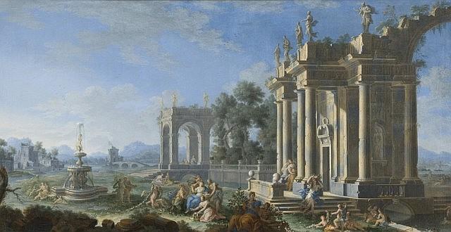 Gennaro Greco Naples, 1663 - 1714 Caprice architecturale avec le triomphe de Flore Toile