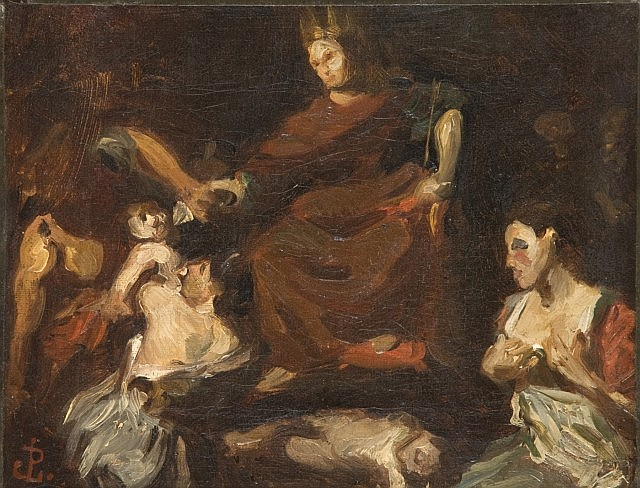 Jean-Paul Laurens Fouquevoux, 1838 - Paris, 1921 Le jugement de Salomon, d'après Valentin de Boulogne Huile sur toile