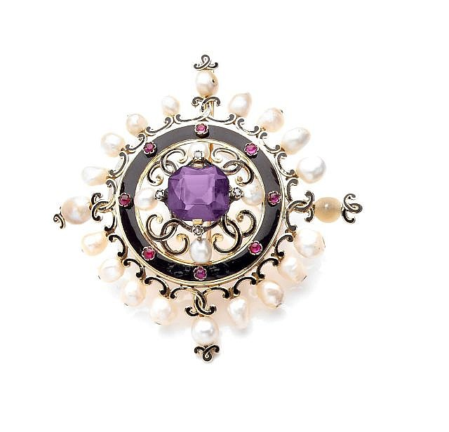 A DIAMOND, CULTURED PEARL, BLACK ENAMEL, VIOLET STONE AND GOLD BROOCH