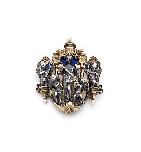 A NATURAL PEARL, BLUE ENAMEL AND SILVER NEO RENAISSANCE BROOCH