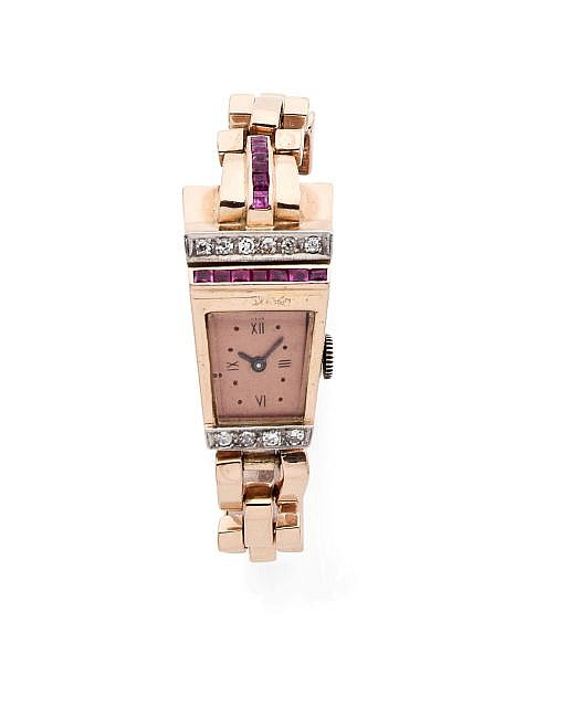 A DIAMOND, RUBY AND PINK GOLD TANK LADY'S WATCH