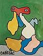 ¤ Gaston CHAISSAC (1910-1964) PERSONNAGE A TETE ROUGE SUR FOND VERT, 1960 Huile sur toile