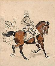 Jean-Baptiste-Edouard Detaille Paris, 1848 - 1912 Etude de cavaliers Gouache sur trait de crayon,