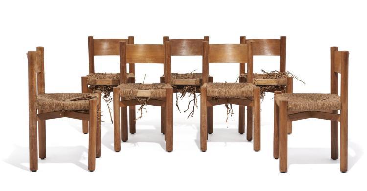 """Charlotte PERRIAND (1903-1999) Suite de sept chaises dites """"Bois paillé"""" - Création 1939 Structure et dossier en bois massif, assise..."""