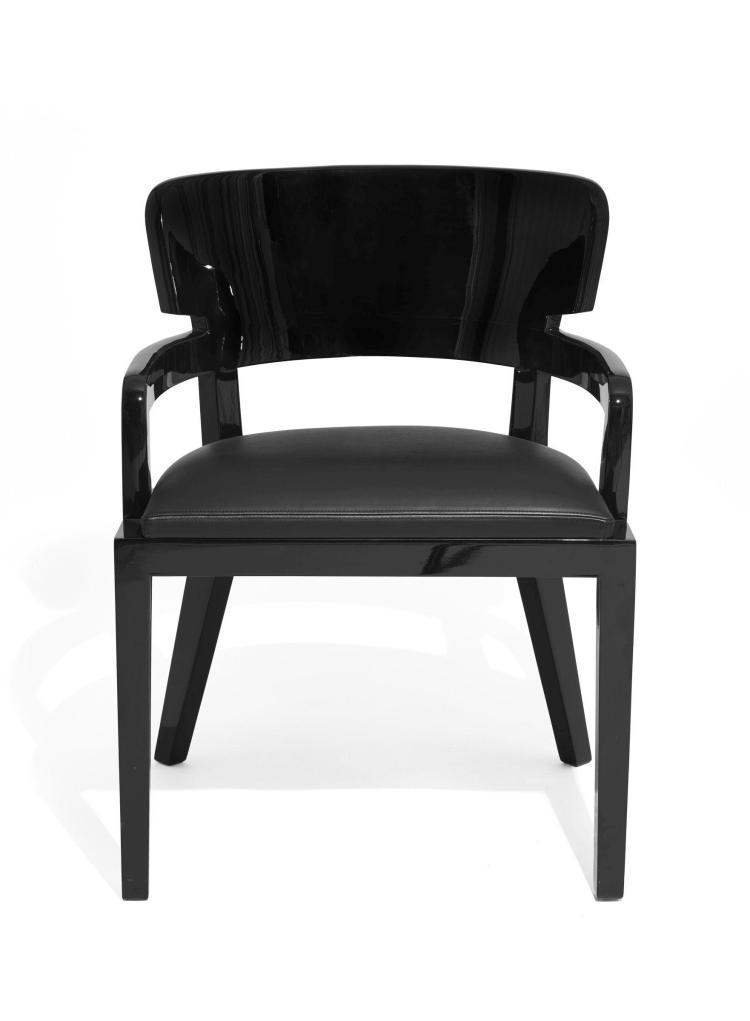 """Christian LIAIGRE (Né en 1945) Chaise dite """" Plantation """" - Création 2009 Structure en bois verni noir, assise et dossier recouverts..."""