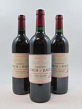 5 bouteilles 2 bts : CHÂTEAU LYNCH BAGES 1990 5è GC Pauillac (1 base goulot, étiquettes fanées)