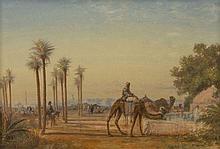 PAUL PASCAL 1839-1905 CHAMEAUX À L'ABREUVOIR DANS UNE OASIS