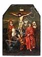 Attribué à Marcellus Coffermans Actif à Anvers de 1549 à 1578 La Crucifixion Huile sur panneau de chêne, une planche, à vue cintrée...
