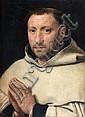 Attribué à Pierre Pourbus Gouda, 1524 - Bruges, 1584 Portrait de religieux, probablement un moine chartreux Huile sur panneau, une p...