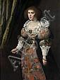 Attribué à Michiel Jansz. van Miereveld Delft, 1567 - 1641 Portrait d'une dame de qualité de trois-quarts Huile sur panneau, parquet..