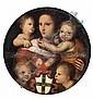 Attribué à Andrea Piccinelli, dit Andrea del Brescianino Brescia, vers 1485 - après 1525 La Charité et deux Amours tenant le blason...