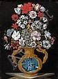 Les Maîtres du Vase aux Grotesques (Actifs en Italie du nord vers 1600) ou Tommaso Salini (Rome, vers 1575 - 1625) Deux bouquets de...