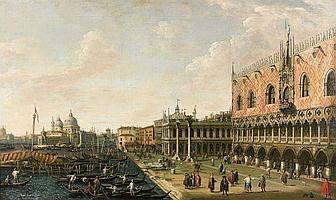 Ecole italienne de la première partie du XIXe siècle  Vue de la Piazetta et du Palais des Doges vers la Salute et Le Pont du Rialto...