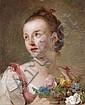 Ecole française du XVIIIe siècle  Jeune femme tenant une brassée de fleurs Huile sur toile