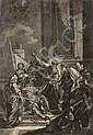 Ecole française du XVIIIe siècle Entourage de Jean-Baptiste Deshays Saint Pierre guérissant le paralytique, grisaille Huile sur papi...