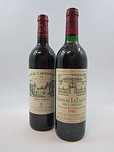 6 bouteilles 3 bts : CHÂTEAU LA LAGUNE 1993 3è GC Haut Médoc (légèrement bas, étiquettes fanées)