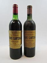 5 bouteilles 4 bts : CHÂTEAU BRANE CANTENAC 1964 2è GC Margaux(1 haute épaule, 2 mi-épaule, 1 basse épaule, étiquettes abimées)