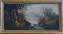 Antique Oil - Hudson River School Amazing and Fine lake View