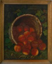 John Francis ? Antique Oil - Hudson River School Still Life with peaches