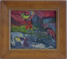 Vintage very old gouache  Modernism Judaica, Marc Chagall?