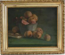 Vintage Oil 19th C. American Still Life with Peaches Signed